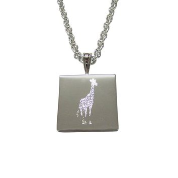Silver Toned Etched Standing Giraffe Pendant Necklace