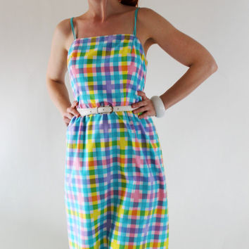 1970s Dress Blue Pink Yellow Plaid Sundress Garden by gogovintage