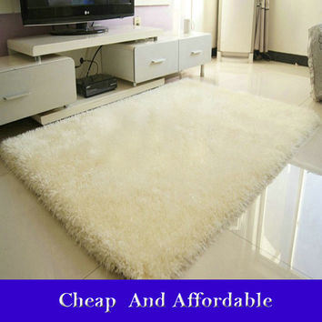 New Fashion Flokati Shaggy Seatmat Carpet Beige Rug Anti-skid Carpets Fit for Living Room And Bedroom Soft Carpet 40*60cm
