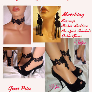 Beautiful And Sexy Black Lace Collection, Sexy Lace Jewelry & Shoe Accessories, Lace Earrings, Lace Choker, Barefoot Sandals, Ankle Glams