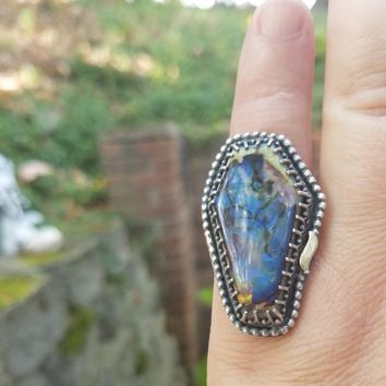 Cultured Opal Coffin Ring