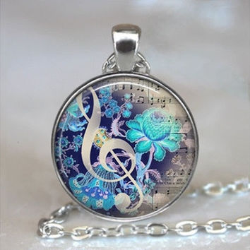 Vintage Music Cabochon Tibetan silver Glass Chain Pendant Necklace [8833396044]
