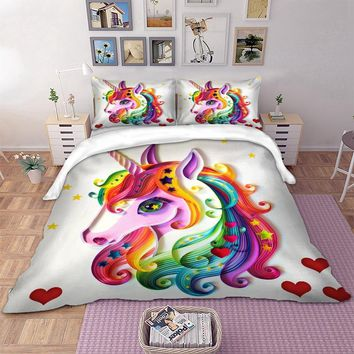 Wongs bedding duvet cover cute Unicorn 3D Digital Printing colorful Bedding Set single twin full queen king size bedlinen