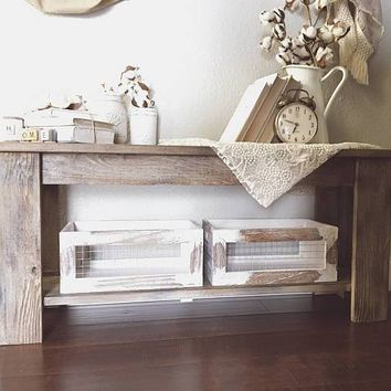 Handmade rustic farmhouse entryway bench, weathered barnwood, aged, cedar, antique, custom orders, coffee, side table, matching set
