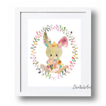 Baby bunny print Floral Watercolor Nursery wreath art Bunny printable Woodlands Nursery Little girls bedroom decor DOWNLOAD 11x14, 5x7, 8x10