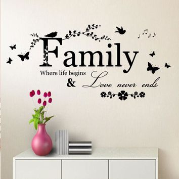 Family Where Life Begins Butterfly Wall Art Quote Sticker Removable Vinyl Decal decor