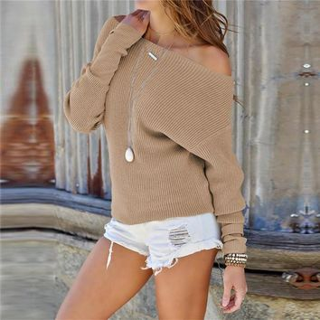 Off the Shoulder Boat Neckline Solid Color Women Sweater