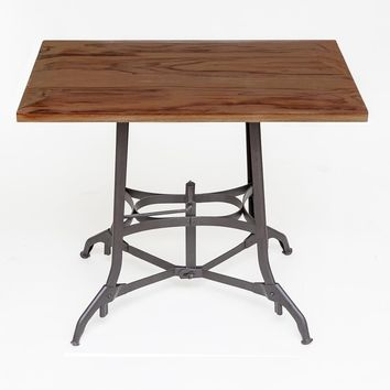 Vintage Industrial Table, Powder Coated Metal Base | Solid Walnut Top