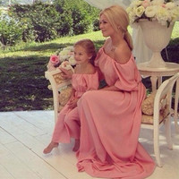 Fancy Pink Mommy and Me Mother/Daughter Off the Shoulder Long Chiffon Maxi Dresses Matching Outfits