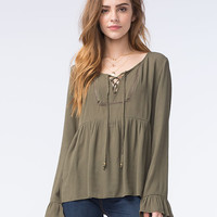 Socialite Womens Lace Lip Babydoll Top Olive  In Sizes