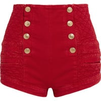 Pierre Balmain - Button-detailed quilted denim shorts