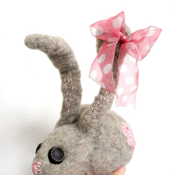Gray bunny, needle felted, with pink bow, vintage button eyes and pink stitches, one of a kind, easter bunny, woodland animal, nursery decor
