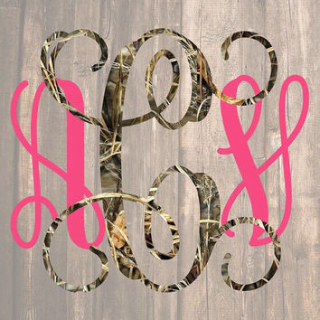 Camo Monogram Decal | Camo Decal | Camo Monogram | Camo Decal | Hunting Monogram Decal | Country Monogram