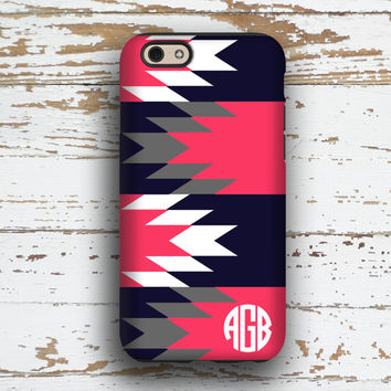 Tribal Iphone case, Aztec Iphone 6 case, Tribal Iphone 5c case, Monogram iPhone 5 case, Bff Gift iPhone 4 case, Navy gray coral (1289)