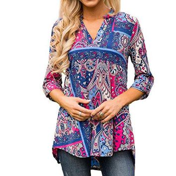 Jessica CC Womens Paisley Floral Print V Neck Tunic 34 Sleeve Blouse Shirt Tops