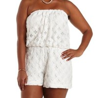 Plus Size White Strapless Floral Lace Romper by Charlotte Russe