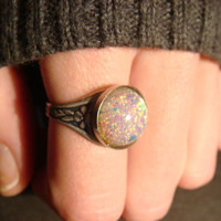Victorian Style Fire Opal Antique Silver Ring- Adjustable (480)