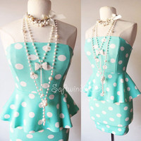 NEW Forever 21 Mint/Ivory Polka Dot Ponte Knit PEPLUM Skirt CUTE Strapless Dress