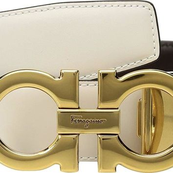 Salvatore Ferragamo Men's Adjustable/Reversible Antiqued Gold Double Gancini Bianco/Hickory 44