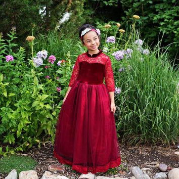 Wine Velvet Vivienne Gown - Toddlers, Girls & Juniors