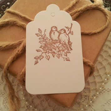 Bird and Nest Tags Set of 50 Great for Weddings and Baby Showers