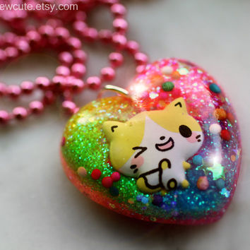 Cat Girl Necklace, Kitten Jewelry, One of a Kind Gift Idea, Cute Resin Jewelry, Springtime Colorful Kitten Necklace Handcrafted by isewcute