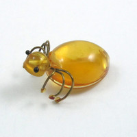 Vintage Baltic Amber Bug Brooch Insect Brooch Genuine Amber Honey Amber Bug Pin Insect Pin Beetle Brooch Natural Amber Honey Yellow Amber