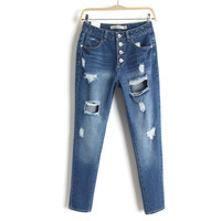 Summer High Rise Rinsed Denim Stretch Pants Jeans [4920639748]