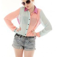 PASTEL COLORBLOCK COLLAR SHIRT @ KiwiLook fashion