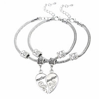 2PCS Mom Women Girl Femme Charm Statement Jewelry Mother Daughter Broken Heart Bracelet Bangle Party Gifts
