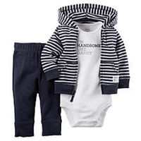 Carter's Boys 3 Piece Navy Striped Zip Up Hooded Cardigan, Navy Pant and White
