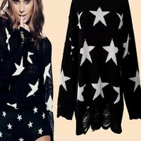 Fashion Loose Fitting Star Print Knit Sweat