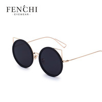 2017 fenchi Metal Cat ear Sunglasses Women Vintage Summer Style Round Metal Sun Glasses for Women Cat Eyes Mirror Shades