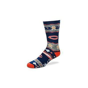 NFL Chicago Bears Ugly Christmas Sweater Mens Crew Cut Socks - Large
