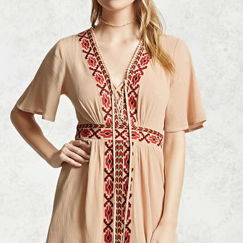 Embroidered Panel Mini Dress