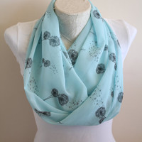 Dandelion Infinity Scarf Floral Circle Scarf Fall Winter Fashion Accessories Christmas Gift for Mom
