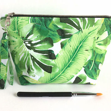 Makeup Bag, Tropical Makeup Bag, Green Leaf Pouch, Green Cosmetic Bag