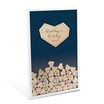 Starry Night Wedding Drop Box Guest Book with Hearts (Pack of 1)