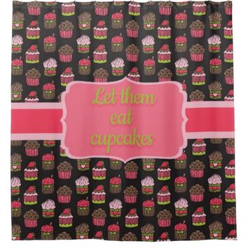 Cute Pink and Lime Green Cupcakes on Brown Shower Curtain