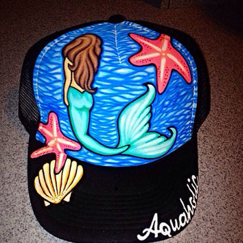 Starfish mermaid aquaholic painted truckerhat