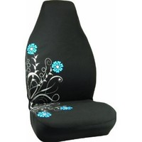 Bell Automotive 22-1-56211-8 Silver and Blue Floral Design Universal Bucket Seat Cover