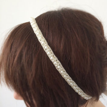 Bridal Hair Wrap, Bridal Lace Headband, Pearls Embroidered Wedding Hairband, Bridal Headpiece, Women's Hair Jewelry, Women's Gift, ReddApple