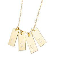 Personalized Tag Necklace, Multiple Tag Necklace, Initial Bar Necklace, Gold Tag Necklace, Mothers Necklace, Gold Initial Bar Necklace