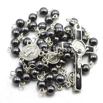 Fashion hematite bead catholic rosary, St Benedict connectors, center piece, and crucifix cross