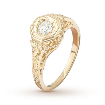 Antique Baroque Yellow Gold Engagement Ring