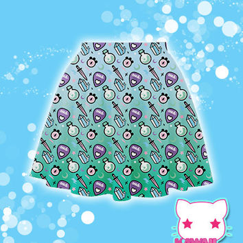 Pastel Oracle (Crystals, Eyes, Planchette) Skater Skirt  Fairy Kei Pastel Goth Kawaii