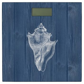 Sea Shell White Vintage Blue Wood Scale Bathroom Scale