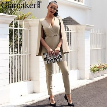 Glamaker Shrug deep v neck wrap sexy jumpsuit romper Casual khaki long playsuit jumpsuit Women autumn winter jumpsuit overalls