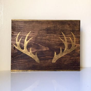 Faux Taxidermy Antlers Reclaimed Wood Sign