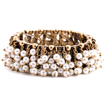 White Faux Pearl Beaded Cuff Bracelet